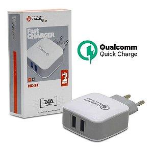 CARREGADOR DE PAREDE PMCELL HC-23 COM 2 USB 2.4A / FONTE USB FAST CHARGER PMCELL
