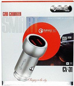 CARREGADOR VEICULAR PMCELL CV-31 COM 2 USB 3A