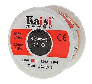 FIO DE SOLDA ESTANHO KAISI 0.6mm  - 60Sn 40Pb 0.01sin 1,2%