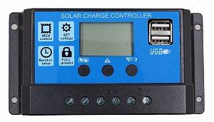Controlador de Carga Solar 30A 12V/24V PWM Ysmart Tech RBL-30A - Com Display LCD