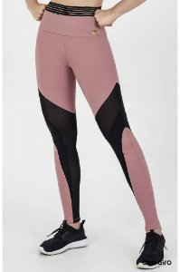 Legging Alto Giro Light Plus Com Recortes Em Tule