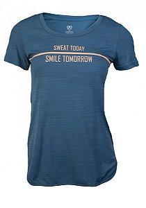 Camiseta Alto Giro Skin Fit Inspiracional Feminina Petroleo/Salmao