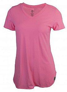 Camiseta Alto Giro Skin Fit Alongada Gola V Feminina Rosa Fluor