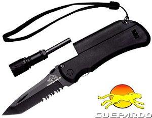 Canivete Guepardo Survival Pederneira Lanterna Apito Lamina