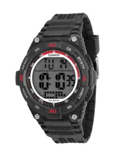 Relógio Masculino Digital Borracha Preto/vermelho Speedo
