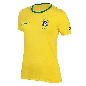 Camisa Nike Brasil CBF Torcedor Feminina- Amarelo