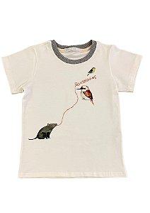 Camiseta infantil manga curta bordada Silvestrinhos