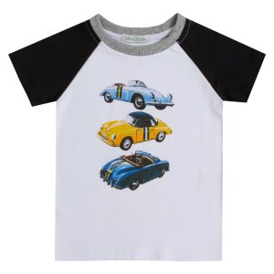 Camiseta infantil manga haglan estampada carro