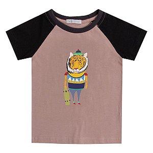 Camiseta infantil manga haglan Gato Moderno