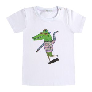 Camiseta infantil botões ombro Jacaré Moderno