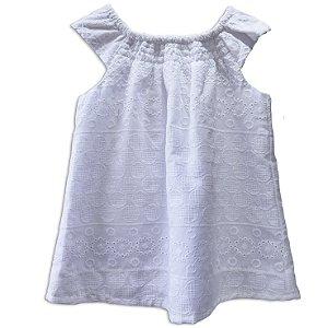 Vestido bebê laise botões madeira