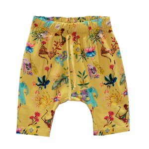 Shorts saruel estampado amarelo