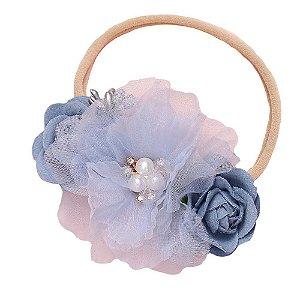 Tiara meia de seda azul