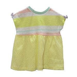 Vestido double stripe ana ruga amarelo
