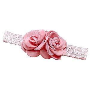 Tiara em seda rosas