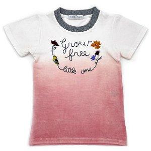 Camiseta bordada ombrê rosa