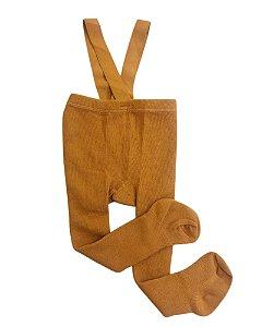 Meia calça infantil suspensório mostarda