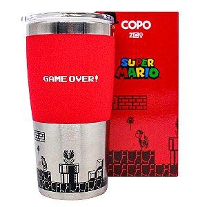 Copo de Viagem com Tampa Max Mario Game Over Retro 450ML