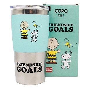 Copo de Viagem com Tampa Max Snoopy Friendship Goals 450ML