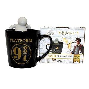 Caneca Harry Potter Hogwarts 9 3/4 Com Infusor de Chá 350Ml