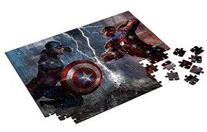 Quebra Cabeça Capitão América VS Homem de Ferro Personalizado Com Caixa em MDF
