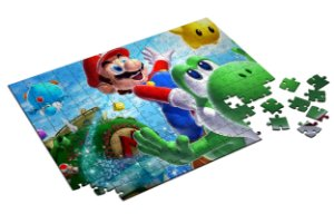 Quebra Cabeça Super Mario Com Caixa em MDF