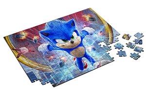 Quebra Cabeça Sonic The Hedgehog Com Caixa em MDF