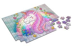 Quebra Cabeça Unicornio Com Caixa em MDF