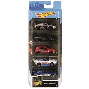 Hot Wheels - Pacote Presente Com 05 Carros Nightburnerz