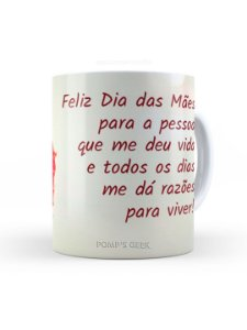 Caneca de Ceramica Feliz dias das Mães 325 Ml