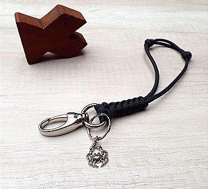 Mini-Lanyard Preto com Pingente Caranguejo