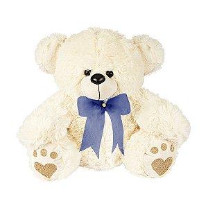 Urso de Pelúcia Baby Marfim com laço Azul  W.U