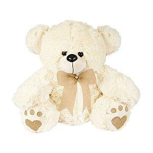 Urso de Pelúcia Baby Marfim com laço Caqui W.U