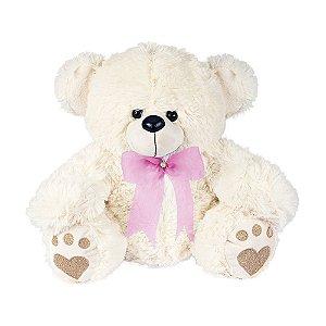 Urso de Pelúcia Baby Branco com laço Rosa Claro W.U