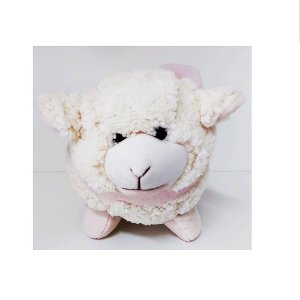 Mini Ovelha de Pelúcia Real com Laço Rosa Claro WU