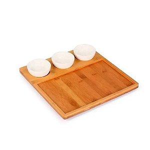 Petisqueira em Bambu com Bowl em Porcelana Yoi