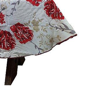 Toalha de Mesa Retangular 2,40 cm  Floral Vermelha Raner