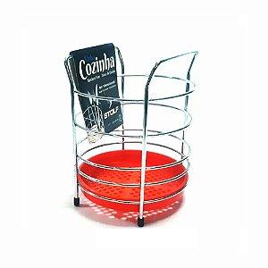 Porta Talheres Aramado Fundo Plástico Redondo Vermelho Stolf