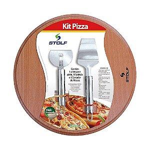 Kit Pizza Tábua e Cortador e Espátula Stolf