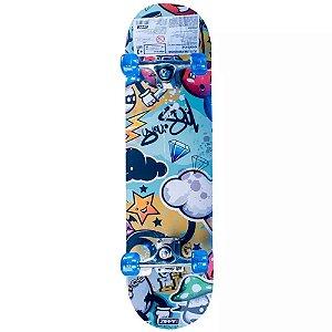 Skate Semi Profissional com Kit Proteção Nuvem  - Zippy Toys