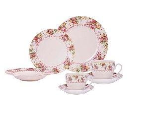 Aparelho de Jantar Floral Porcelana 42 Peças