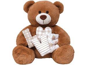 Pelúcia Urso Patch Love Bege  G  Buba Toys