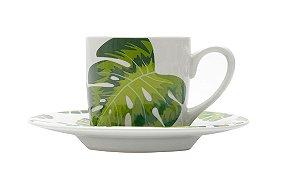 Jogo Xícaras Café / Cafezinho Folhas Porcelana 90 ml