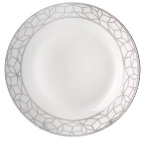 Jogo De Pratos Fundo Porcelana Geo Mix Cinza