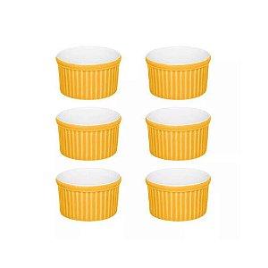 Ramequim Bowl Amarelo E Branco 100 Ml Porcelana Oxford