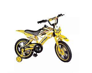 Bicicleta Bike Moto Cross Aro 16 Amarelo