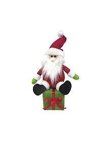 Enfeite de Mesa Papai Noel Sentado na Caixa de Presente