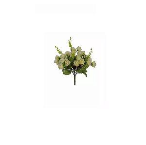 Galho Mini Rosas Branca Craqueado Artificial