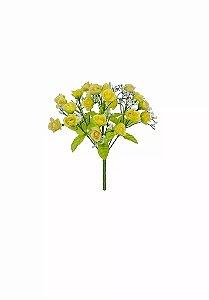 Galho Mini Rosas Amarela Artificial