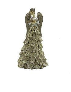 Enfeite De Natal Anjo com Pássaro em Resina Dourado